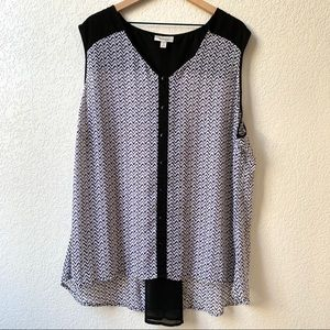 Dressbarn Sleeveless Black/White Blouse Size 3X